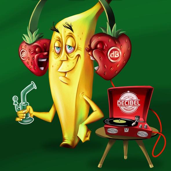 Cartoonish artwork with the title 'Hand painted banana mascot'