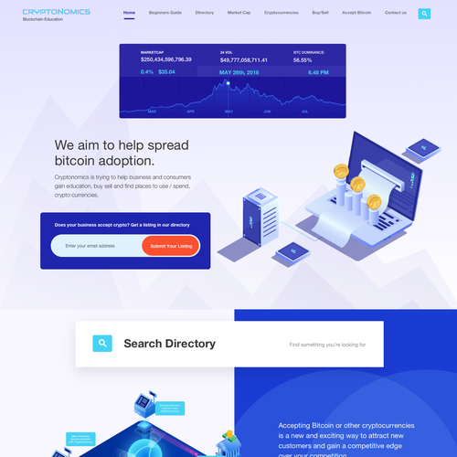 Currency design with the title 'Cryptonomics landing page'
