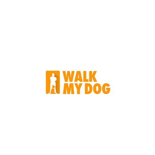 Walking design with the title 'Modern, Minimalist Logo for WalkMyDog.com'