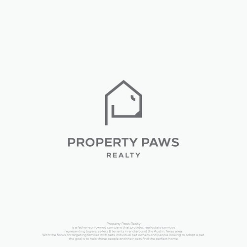 Bear claw logo with the title 'monoline logo for Property Paws Realty'