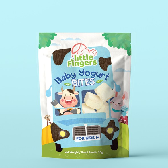 Baby food design with the title 'Baby Yogurt Bites'