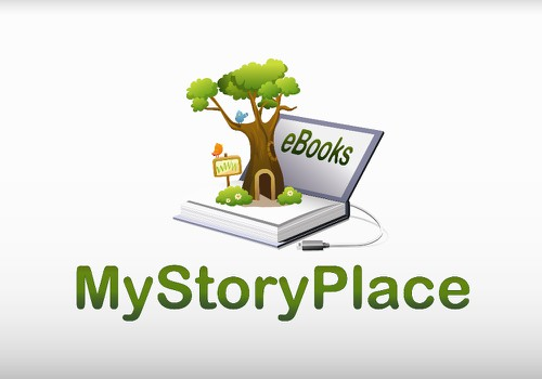 Ebook logo with the title 'Create the next logo for MyStoryPlace'
