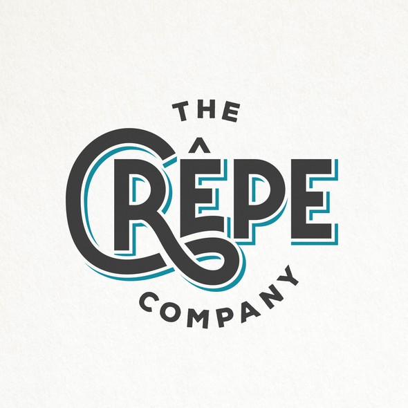Crepe design with the title 'HIP AND SIMPLE TYPOGRAPHY LOGO FOR THE CREPE COMPANY '