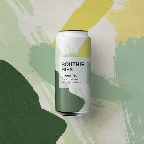 Yellow and green design with the title 'Southie Sips can '