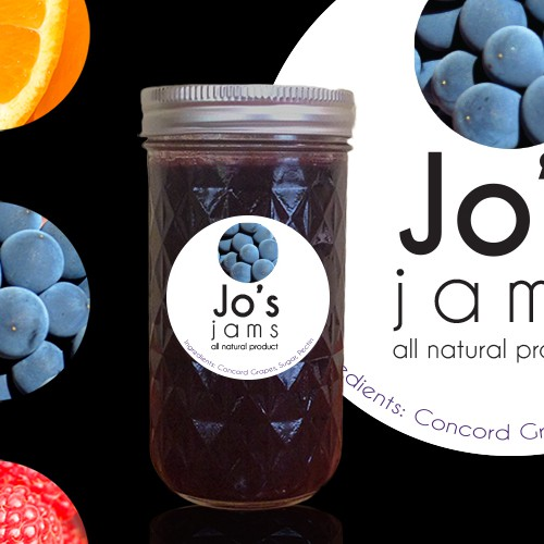 Raspberry design with the title 'Create a product label for Jo's Jams, All Natural Concord Grape Jam'
