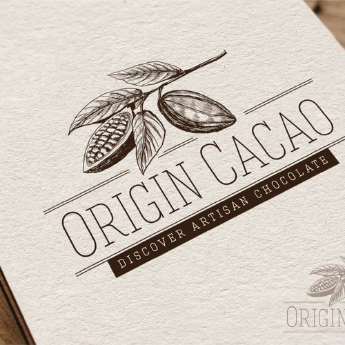 Hand-drawn logo with the title 'Create the next logo for Origin Cacao'