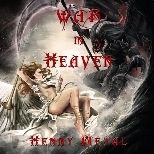 CD cover design with the title 'War in Heaven - Henry Metal'
