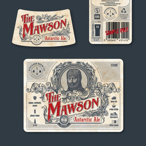 """Beer artwork with the title '""""The Mawson"""" - """"Antarctic Ale"""" vintage style beer label design'"""