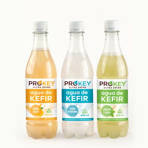 Water label with the title 'Prokey Agua de Kefir'