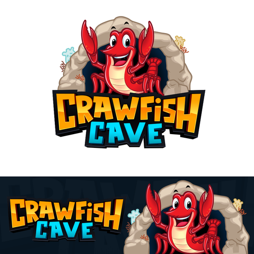 Happy design with the title 'Cute and friendly cartoon crawfish/crab with a cave background for Crawfish Cave Restaurant'