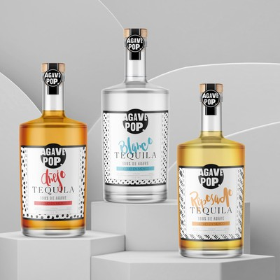 Modern & trendy label design for Agave Pop tequila brand