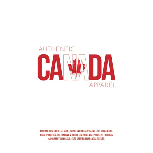 Canadian leaf logo with the title 'awesome logo for our comfy Canadian clothing company!'
