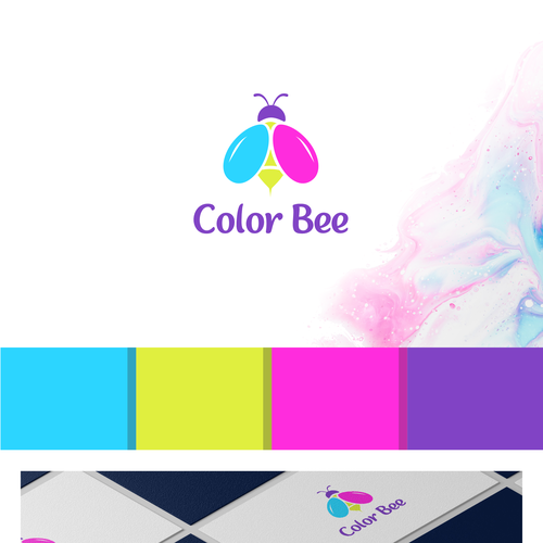 Nail polish design with the title 'Bold logo concept for Color Bee'