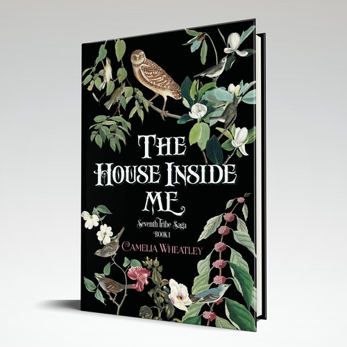 Nature book cover with the title 'A detailed, lush cover proposal for a fiction book'