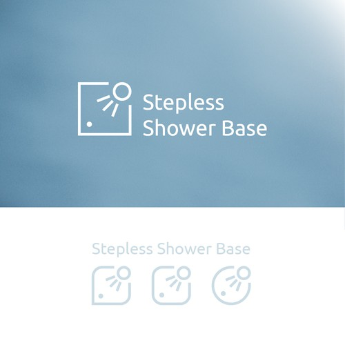 Shower logo with the title 'Logo concept for shower bases producer company.'