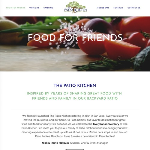 Wine website with the title 'The Kitchen Patio Design'
