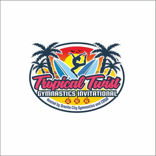 Gymnastics logo with the title 'TROPICAL TWIST'