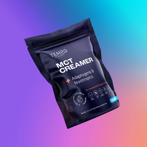 Pouch design with the title 'Tempo MCT Creamer'