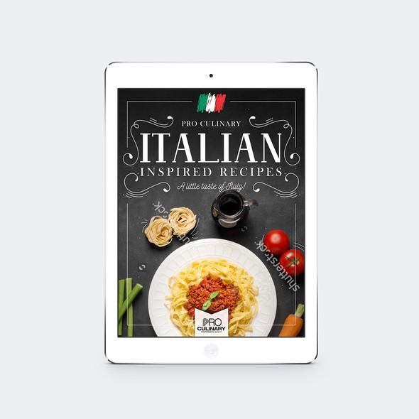 Recipe design with the title 'Pro Culinary Ebook'