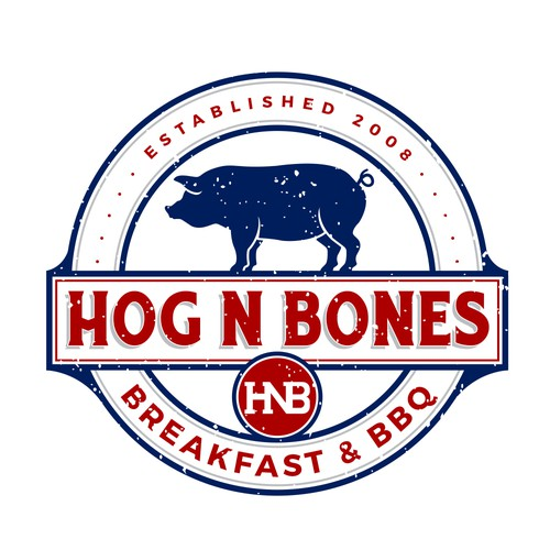 Greek food logo with the title 'Hog-N-Bones'