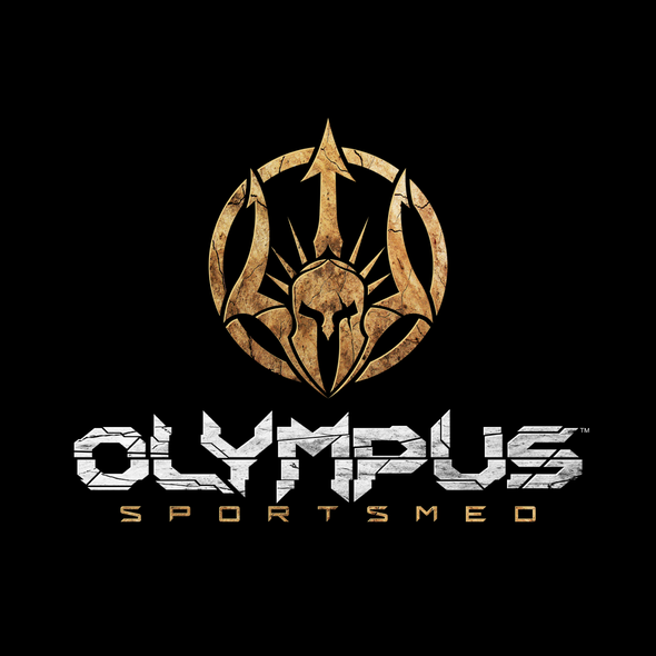Spartan helmet logo with the title 'Logo design for Olympus'