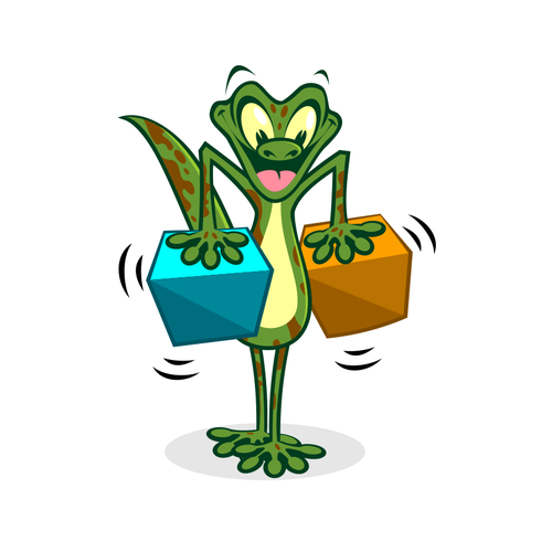 Lizard design with the title 'Funny gecko character'