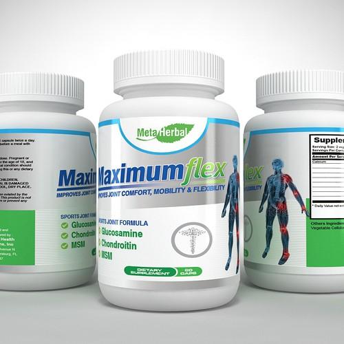 Flexible design with the title 'MaximumFlex product label'