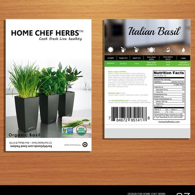 Organic Seed Packet Design for Home Cooks (Basil)