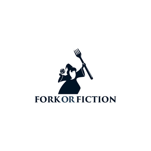 Wizard logo with the title 'logo concept for fork or fiction'