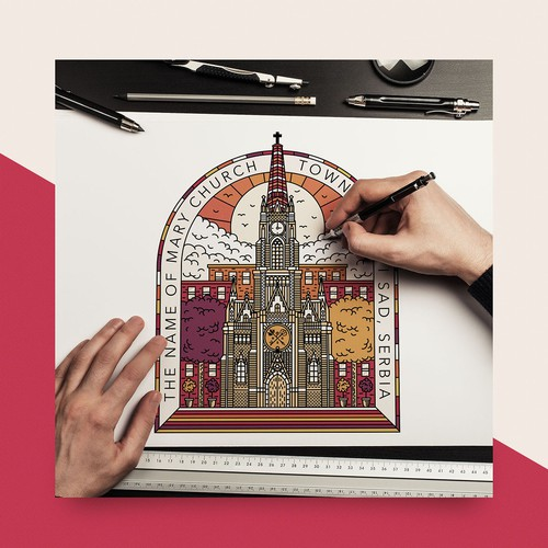 Adobe Photoshop artwork with the title 'The Name Of Mary Church'