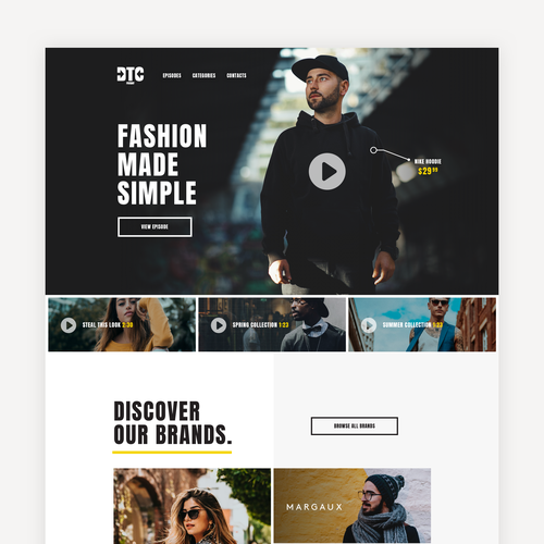 Clothing website with the title 'DTC Fashion Website'