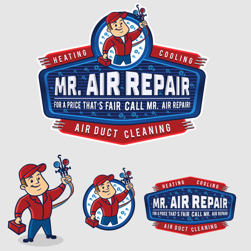 Heating design with the title 'Mr. Air Repair Logo and Mascot Design'