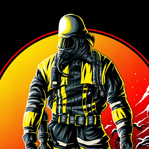 Hero design with the title 'FIREFIGHTER T-Shirt ++++Design a new breathtaking FIREFIGHTER Shirt++++'