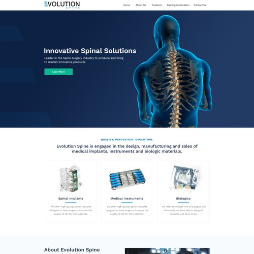 Surgical design with the title 'Innovative Spine Medical Device Web Design'