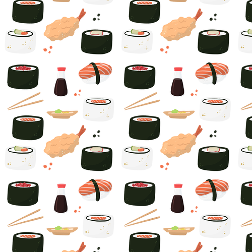 Sushi illustration with the title 'Sushi restaurant banner'
