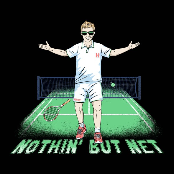 Tennis design with the title 'Nothin' But Net'