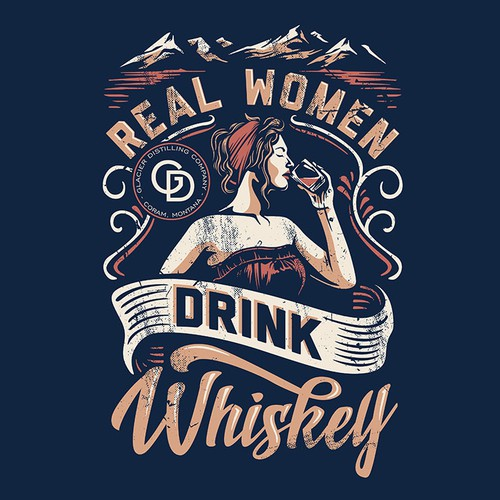 Women's t-shirt with the title 'Real Women Drink Whiskey'