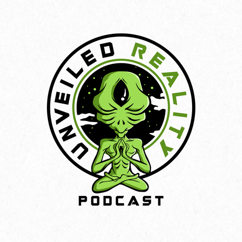 Mysterious logo with the title 'alien podcast'