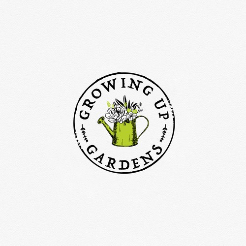 Rustic-modern design with the title 'Clean chic logo for garden company'