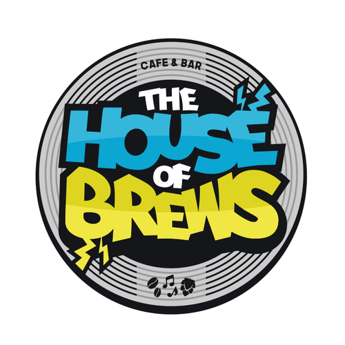 Disco design with the title 'Logo The House of Brews'