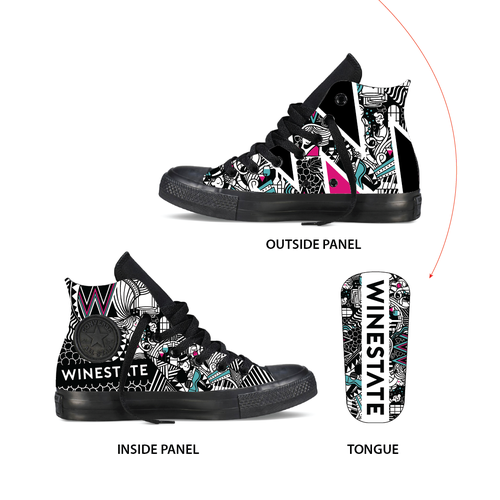 Sneaker design with the title 'Jazz Converse Pattern Design for a Cafe.'