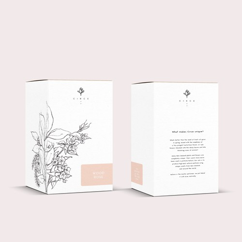 Perfume packaging with the title 'Packaging design for a perfume brand'