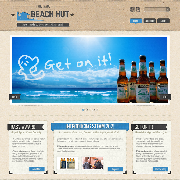 Cool website with the title 'Beach Hut Brewery'