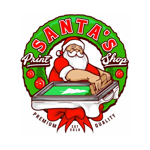 Screen printing logo with the title 'Santa's Printing'