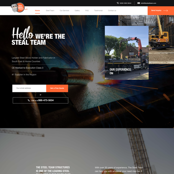 Construction website with the title 'The Steel Team Limited'