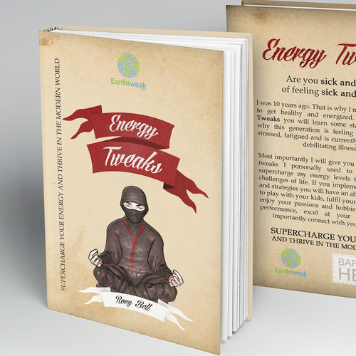 Yoga book cover with the title 'Energy Tweaks Book Cover'