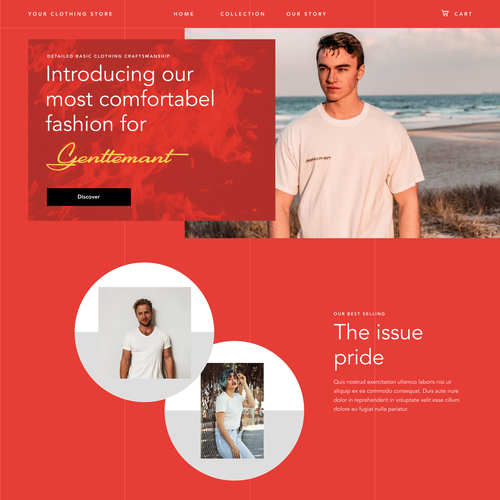 Shopify design with the title 'Fashion Web Landing page'