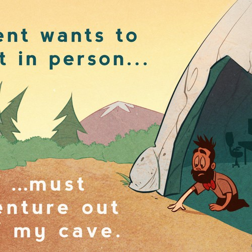Business artwork with the title 'Life of an Entrepreneur Cartoon - Cave'