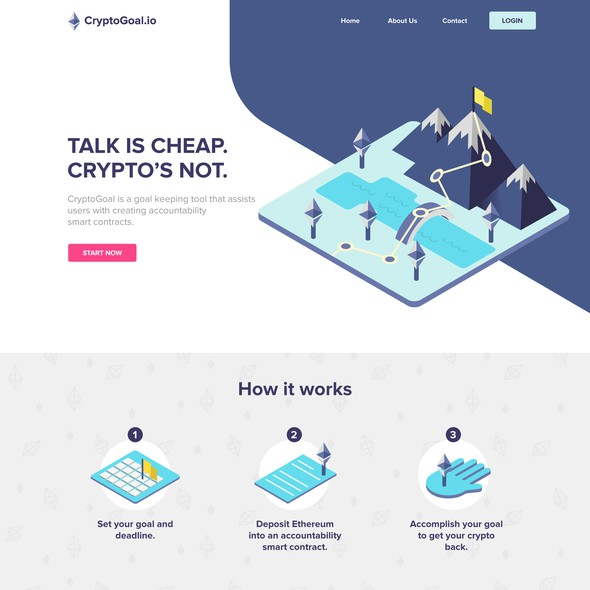 Geometric website with the title 'Website layout for CryptoGoal.io'