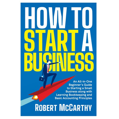 Blue book cover with the title 'How to Start a Business'